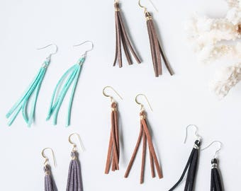 Leather Tassel Dangle Earring, Minimalist, Simple, Sterling Silver or Gold Fill, Anna Earring