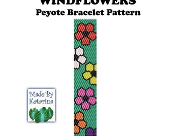 Peyote Pattern - Windflowers - INSTANT DOWNLOAD PDF - Peyote Bracelet Pattern / One Drop Even Peyote / Seed Bead Bracelet / Peyote Bracelet