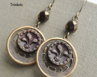 Feathers, Petite Antique Button Earrings