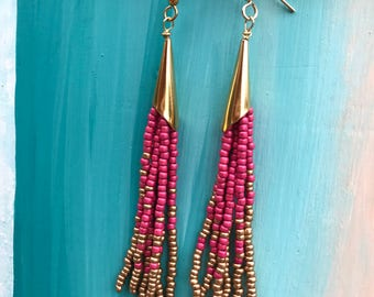 Seed bead tassel earrings, Hot pink and gold earrings, Boho earrings, Long tassel earrings, beaded tassel earrings