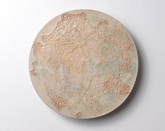 Moon Disk - 21 | Moon, Wall Art, Texture, Lunar, Moon Decor, Space Decor, Moon Painting, Meteor, Earth, Planets, Concrete, Galaxy Donut