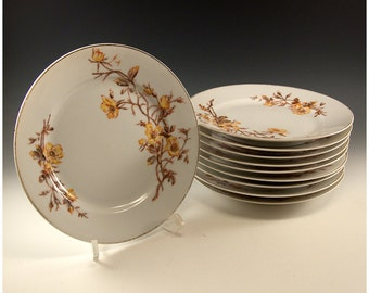 Vintage Set of  10 Limoges Yellow Flower 8 1/2 inch plates Tressemann and Vogt D and C