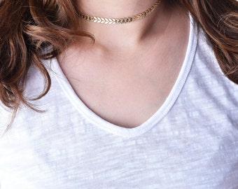 gold choker necklace,gold chevron choker,silver chevron choker,fish bone choker,chevron tattoo choker,chain choker,boho choker,boho jewelry