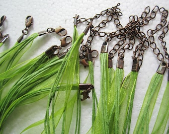 antiqued copper finish--20pcs 17-19 inch adjustable olive green voile ribbon/waxed cotton necklace cords