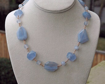 Natural Blue Chalcedony and Rose Gold Wire Wrapped Necklace