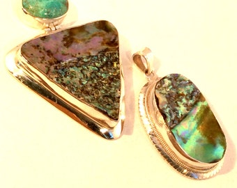 Abalone Shell Pendant. Sterling Silver, Hinged w/ Chrysocolla. free US ship