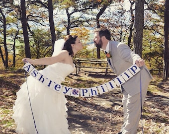 Wedding Garland / Custom Names Banner / Wedding Banner / Couples Shower / Photo Prop / Engagement Party / Wedding Decorations / Personalized