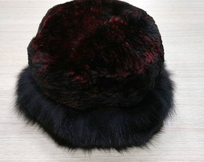 Real Hat Beaver and Fox Fur Winter Hat  F609