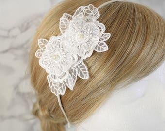 Ivory Pearl Bead Flower Headband, Ivory Flower Headband, Wedding Headband, Flower Girl Headband, Ivory Hair Comb