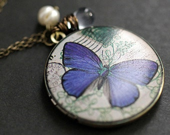 Blue Butterfly Locket Necklace. Butterfly Necklace with Pale Blue Teardrop and Pearl. Handmade Jewellery.