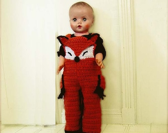 Baby Fox Overall Shorties,Baby Costumes, Rompers, Buttons at Legs for Easy Change - INSTANT DOWNLOAD Crochet Pattern