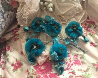 Antique Vintage Hat Millinery Flower Cluster Bright Blue Shabby Chic