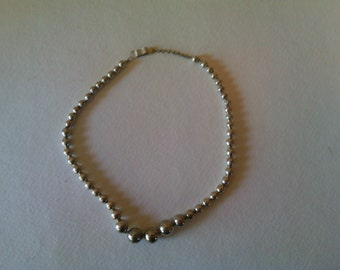 Vintage Mexican Sterling Bead Necklace