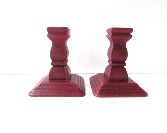 Vintage Wood Candlesticks - Painted Dark Rich Red - Candleholders - Painted Wood - Painted and Waxed -