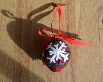 Needle Felted Wool Holiday Snowflake Ornament - Shades of Red and Green with 2 Snowflakes and Some Sparkle!