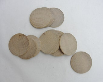 """12 Wooden Circles, wooden disc 1 3/4""""  (1.75"""") wood 1/8"""" thick unfinished DIY"""