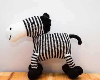 Hand Knitted Zebra Plushie, Stuffed Animal