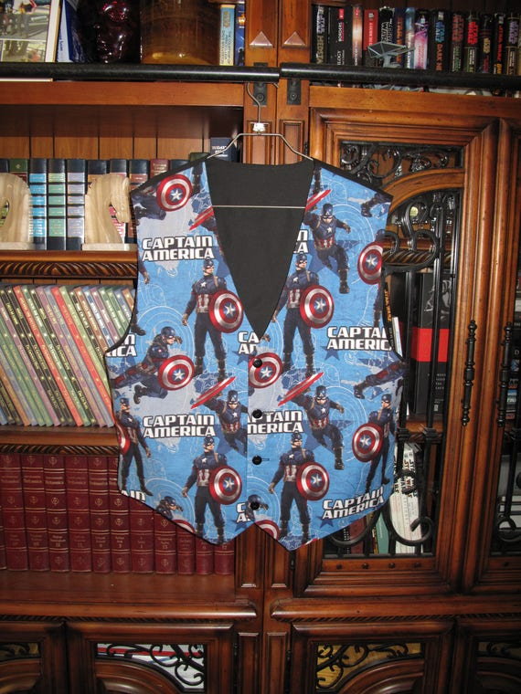 Captain America print men's sporty vests with buttons for closure in 8 sizes