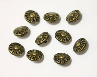 20x Sun Antique Bronze Shank Vintage Hole Buttons 22x22mm
