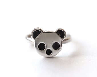 Panda Ring, Sterling Silver, Blackened Details, Precious Panda Ring, Panda Jewellery, Panda Gifts, Animal Ring Handmade in Brighton, UK