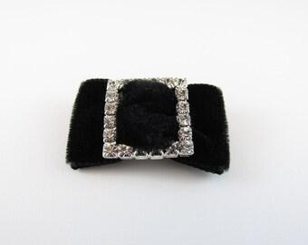 1 Rhinestone Black Velvet Bow Pin for Embellishment