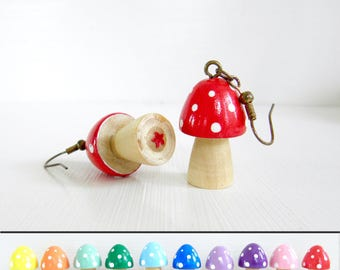 Simple Wooden Mushroom / Toadstool Earrings L - Choose your colour