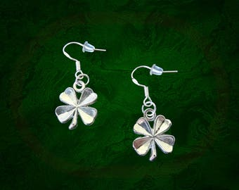 St Patricks Day Earrings..4 Leaf Clover Earrings..Silver Shamrock Earrings..Four Leaf Clover Earrings..Lucky Earrings..Luck of the Irish