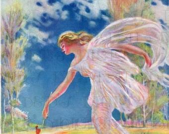 SPRING Unlocks The Flowers!  Vintage  ILLUSTRATION.  Digital Vintage Spring Illustration Download.