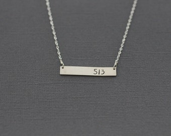gold bar necklace, area code necklace, going away gift, silver bar, sterling silver, personalized necklace, nameplate, going away, 513, N54