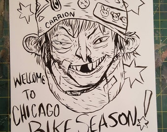Welcome to Chicago BIke Season! Original Drawing