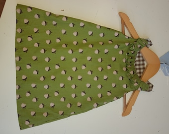 Sleeveless green acorn print dress age 6-18 months