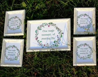 6 White Frames Set - Wedding Frames, Shabby Chic Rustic Picture Frames
