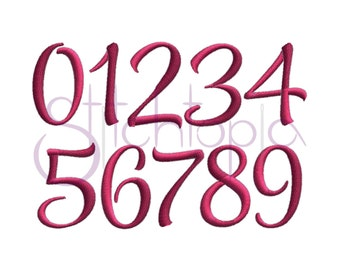 Style Script Embroidery Font Numbers Set - Numbers Only - 3 sizes 11 Formats Machine Embroidery Font Mayah - Instant Download Files