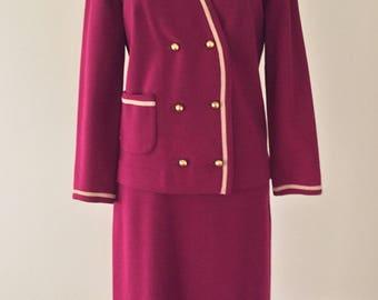 Vintage 60's Suit, 1960's Wool Suit, Cranberry Wool Knit Suit