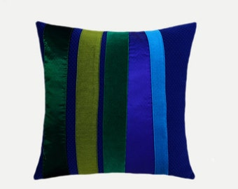 """Decorative pillow case, Blue Decorative fabric Throw pillow case with Blue, Green accent, fits 18"""" x 18"""" insert, Cushion case, Toss case"""