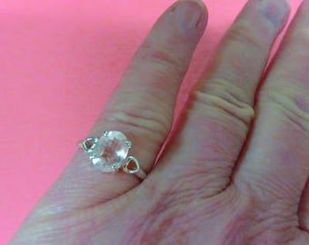 Morganite Ring - Morganite Sterling Silver Ring - Size 6 1/2 Morganite with Sterling Silver Hearts Ring
