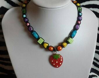 Rainbow Strawberry Hemp Necklace, Hemp Jewelry, Kawaii Jewelry, Rainbow Jewelry