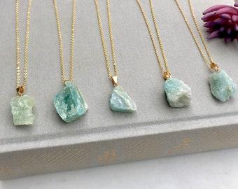 Raw Aquamarine Necklace 14k Gold Aquamarine Chunk Necklace Minimalist Freeform Aqua Crystal Rough Cut Aquamarine Nugget Charm Gemstone  Boho