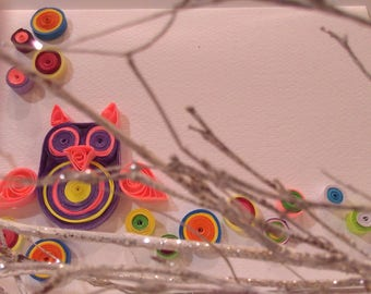 Handmade Quilled Owl postcard for any occasion Birthday, Wedding, Anniversary