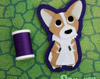 Corgi - Iron on Patch OR Ornament - Sew On Patch - Felt Animal - Dog Applique - Newton the Corgi