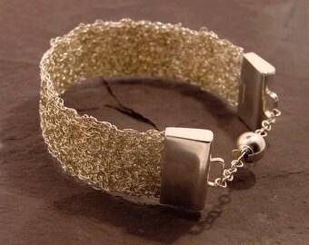 Silver Mesh Bracelet, wire mesh bracelet, silver bracelet for women, silver bracelet, assay hallmarked, handmade, sterling silver