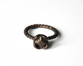 Copper ring minimalist diamond square vintage black; women contemporary jewelry