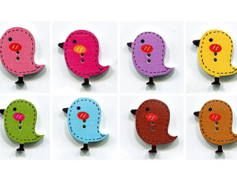 set buttons birds 2.6 cm choice of color, wood