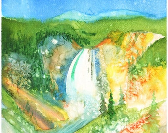 Canyon Lower Falls Watercolor INSTANT DOWNLOAD Digital Yellowstone National Park PDF square art print