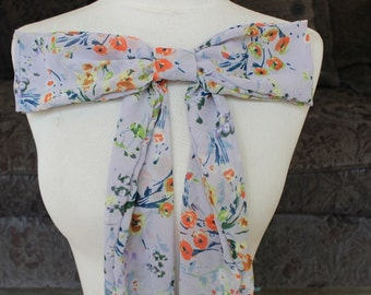 Cute chiffon bow with flower print