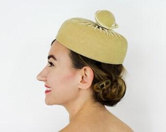 50s Gold Velvet Hat | Velvet Pillbox | Mr.D'