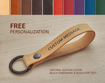 Keychain Leather Custom, Key Fob Name, Keychain for Teacher, Custom Key Ring, Cute Keyring, Name Lanyard, Keyring Wristlet Leather Keychain