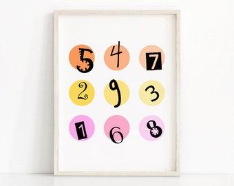 Kids wall art print,  Nursery numbers art, Kids room decor,  Numbers print, Nursery art, Childrens art,  Kids printable , Kids numbers print