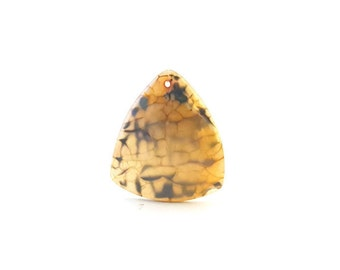 Yellow brown agate etsy yellow brown and blue dragon veins agate shield triangle pendant aloadofball Image collections