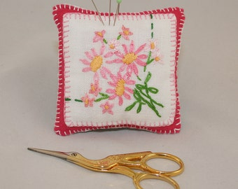 Vintage Linen Embroidered Pincushion - up-cycled/recycled, embroidered pink vintage embroidery re-purposed by Lynwoodcrafts